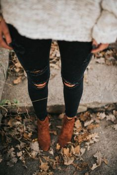 cozy sweater, ripped jeans