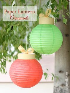 Paper Lantern Christmas Ornaments These oversized Christmas ornaments are so simple to make using paper lanterns and some gold scrapbook paper. Christmas Cave, Ward Christmas Party, Office Christmas, Christmas Crafts, Christmas Decorations, Christmas Ornaments, Christmas Pretzels, Christmas Stuff, Gift Wrapping