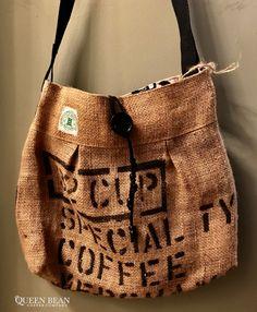 Handmade Custom Cross Body Burlap Totebag Made From Genuine Coffee