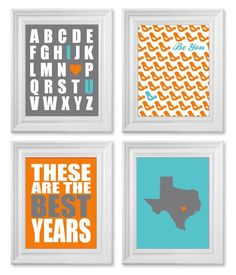 Baby Boy Nursery Art, ANY COLOR, Set of Four 8x10 Prints, Teal Turquoise Orange Gray Art, State, Alphabet, Birds on Etsy, $45.00