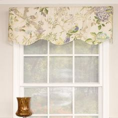 This valance features majestic birds perched upon tree branches. All styles and comes fully lined while featuring a rod pocket good for use with either a continental or standard rod. Gather for smaller windows and add multiples for larger treatments. Valances For Living Room, Kitchen Valances, Living Room Windows, Cottage Windows, Hanging Curtains, Valance Curtains, Valance Ideas, Curtain Ideas, Drapery Ideas