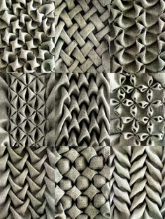 Love these gorgeous examples of fabric manipulation - different types of smocking using soft folds to create repeating patterns and textures - creative sewing and #textiles ideas
