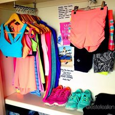 gym closet lifestyle fashion workout fitness clothes gear outfits easy access motivation inspiration organized organization