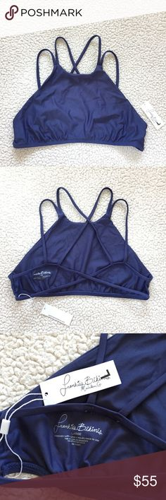 Frankies Bikinis Marley Top • Brand new with tags • Size Large (C/D cup) • Color: Catalina Blue (navy blue) • Unpadded • Halter style top with strappy back detail • No trades Frankie's Bikinis Swim Bikinis