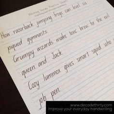 Improve your everyday handwriting… in sentences - decadethirty