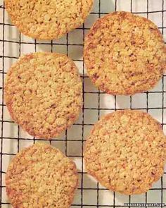 Oatmeal-Lace Cookies - Martha Stewart Recipes: Crisp and chewy at the same time, simple to make, and they keep well in an airtight container. Hands down my favorite cookie! Try serving with peach ice cream as an ice cream sandwich- HEAVEN. Oatmeal Lace Cookies, Oatmeal Cookie Recipes, Raisin Cookies, Cookie Desserts, Dessert Recipes, Dessert Ideas, Lace Cookies Recipe, Yummy Cookies, Lemon Cookies