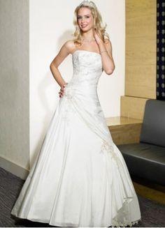 Wedding Dress... a-line, taffeta, dropped waist, beaded accents