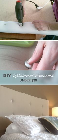 Make a Contemporary Upholstered Headboard for Under $30 • Complete tutorial on how to do it! S'CUTE!