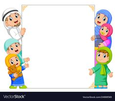 A family and a bais holding white banner Vector Image Kids Background, Flower Background Wallpaper, Cute Girl Wallpaper, Cartoon Background, Vector Background, Eid Al-adha, Eid Al Fitr, Sheep Cartoon, Islamic Cartoon
