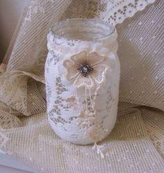 Decorar la casa para una boda: Fotos de ideas originales - Vasos revestidos con ganchillo