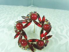 Red Wreath Brooch / Gold Tone With Red Navettes AB