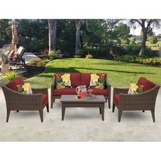 TK Classics Manhattan 5 Piece Seating Group with Cushion Fabric: Terracotta