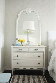 Remodeling Bedroom Design with Bedside Table, White Mirror & Chest -  Nightstand,  Silver Lamp,  White Wallpaper,  Painted Furniture &  Dresser