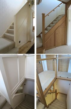 Before and after glass and wood staircase renovations - Medlock Staircases Stair Paneling, House Staircase, Wood Staircase, Staircase Remodel, Staircase Makeover, Staircase Railings, Wooden Stairs, Modern Staircase, Staircase Design