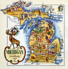 """20"""" by 20"""" Poster Available - https://www.zazzle.com/michigan_map_from_the_1940s_poster-256043524303844678"""