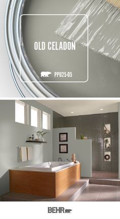 This modern bathroom features a new coat of behr paint in weathered white, adding a Behr Paint Colors, Colorful Interiors, Paint Colors For Home, Interior Paint Colors Schemes, Home Decor, Neutral Wall Colors, Behr Paint, Room Paint, Exterior Paint Colors