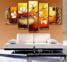 Golden Leaves Abstract Wall Canvas Art Sets Painting for Home Decoration Hand Painted Oil Painting Modern Art Large Canvas Wall Art Fre. 5 Piece Canvas Art, 3 Piece Wall Art, Large Canvas Art, Large Painting, Texture Painting, Hand Painting Art, Canvas Wall Art, Texture Art, Painting Canvas