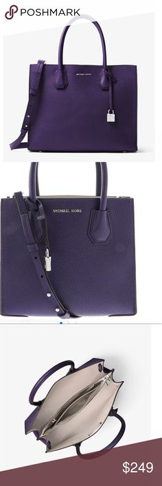 """MICHAEL KORS Mercer Convertible Leather Tote This is a beautiful Purple Pebbled Leather bag. Tuck important items such as your keys, phone and wallet in the median zippered compartment, and carry it by its elegant top handles or go hands free with the removable shoulder strap.  100% full grain pebbled leather, silver tone hardware, handle drop 6.5"""", adjustable strap 22""""-25"""", interior has center zip compartment with slip pocket, 100% coated canvas, with signature monogrammed lining. 12.5""""L x…"""