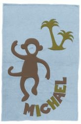 Admiral Road Personalized Blue Monkey Baby Blanket