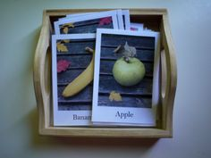 Montessori Toddler Activities: Fruits and Vegetable cards matching activity.