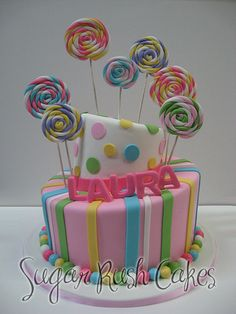The best custom birthday cakes in Montreal for kids and adults.We take the birthday cake one step further and personalize it just for you! Fondant Cakes, Cupcake Cakes, Lollipop Cake, Lolly Cake, Beautiful Cake Designs, Cream Candy, Candy Cakes, Novelty Cakes, Cute Cakes