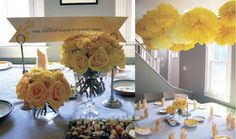 Yellow Rose Centerpieces at the Gray & Yellow Baby Shower by krom Green Wedding Centerpieces, Simple Centerpieces, Wedding Decorations, Wedding Ideas, Shower Centerpieces, Wedding Tables, Paper Decorations, Baby Shower Yellow, Baby Yellow