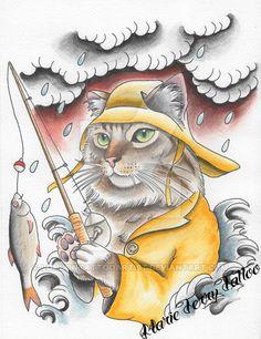 Fishing Cat Neo-Traditional Tattoo Flash by LondonTattooArtist