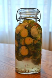 These brine pickled Brussels sprouts are a creative new take on your traditional cabbage ferments and are another great way to get probiotics into your diet. Uses whey and salt brine. Gaps Diet Recipes, Real Food Recipes, Healthy Recipes, Pickeling Recipes, Delicious Recipes, Pickled Brussel Sprouts, Brussels Sprouts, Fermentation Recipes, Kitchens
