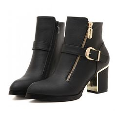 #Black #Buckle And #Zip #Gold Detail #AnkleBoots £34.99 @ ShanghaiTrends.co.uk  /  http://shanghaitrends.co.uk/black-buckle-and-zip-gold-detail-ankle-boots