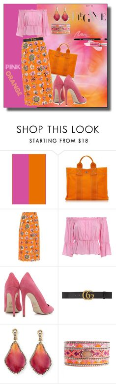 """Today is a Pink & Orange Day"" by kelly-floramoon-legg on Polyvore featuring Hermès, Gucci, Dondup, Dee Keller, Silvia Furmanovich, It Cosmetics and fashionset"