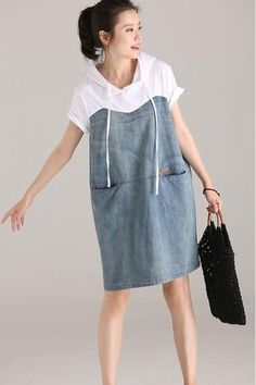 Cute Hoodie Drawstring Denim Dresses Cotton Clothes For Women Kleider Dress Shirts For Women, Trendy Clothes For Women, Trendy Outfits, Sewing Clothes, Diy Clothes, Refashioned Clothes, Denim Fashion, Fashion Outfits, Cheap Fashion