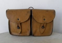 LEATHER AMMUNITION POUCH French Double Pockets 2 Metal Button Closures 2 Belt Loops in Back Tan Leather Well Made 1900-1940 by OnceUpnTym on Etsy
