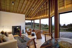 Living Room, Sea Ranch Residence (California) by Turnbull Griffin Haesloop Patios, Modern Wooden House, Wooden House Design, Wooden Houses, Rustic Modern, Interior Design Inspiration, Home Interior Design, Room Interior, Sea Ranch