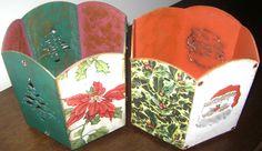 Natal: porta-panetones em MDF com aplicação de guardanapo e detalhes em tinta dourada