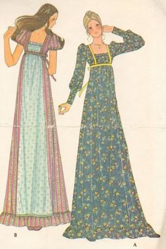 1970s romantic dress sewing pattern illustrations....my sister and I had one made by my mother, oh how I wish I'd kept it.