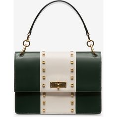 Bally MOXIE MEDIUM Women's calf leather cross body bag in ivy (2,930 SGD) ❤ liked on Polyvore featuring bags, handbags, shoulder bags, studded crossbody, striped handbag, striped purse, white crossbody and white crossbody handbags