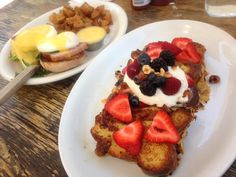 savory and sweet brunch happiness...classic eggs bennies and seasonal berry french toast with vanilla whipped cream and hazelnuts at Square One in LA *best hollandaise sauce ever!*