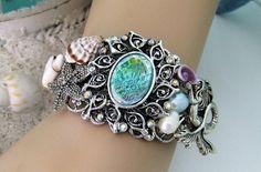 Mermaid Bracelet Cuff Bracelet Blue Cuff by RalstonOriginals