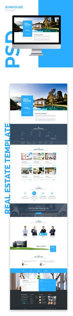 SunHouse is a clean and modern Real Estate Template with 19 carefull hand-draft PSDs. Take easy to promote your real estate project with SunHouse and collect the information from your visitors thanks to conversion centered design of the template. Use thes…