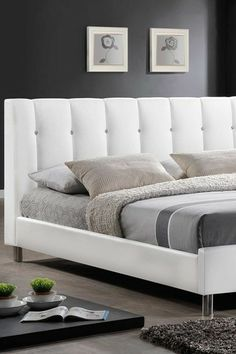 Vino White Upholstered Modern Queen Bed