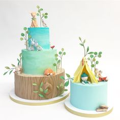 Watercolor Woodland Cakes