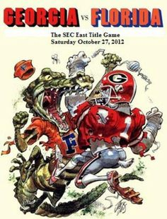 The Florida Gator versus the Georgia Bulldog. -- Can't wait to be there for the game. Go Dawgs! Fla Gators, Florida Gators Football, Gator Football, Football Rules, Football Images, Football Stuff, Football Helmets, College Football Games, Football Program