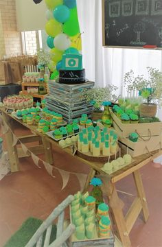 Starting school theme, rustic theme, chalkboard theme, Green and teal colour scheme. We just love setting up this Dessert Buffet. The colours are so bright and fun!