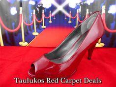 Womens shoe MODA SPANA Red Patent LEATHER High Stiletto Heel Pump peep toe 7.5 M #ModaSpana #PumpsClassics #shoes