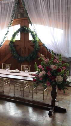 Head table and green wreath backdrop at romantic barn wedding at Lake of the Ozark Missouri When I Get Married, I Got Married, Romantic Wedding Decor, Wedding Ideas, Head Tables, Green Wreath, Missouri, Event Planning, Fall Decor