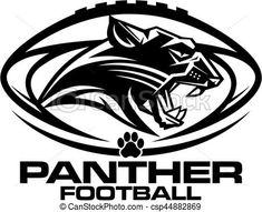 Panther football mascot team design for school, college or league. Cheer Shirts, Football Shirts, Football Helmets, Football Stuff, Football Program, Nfl Logo, Sports Logo, Carolina Panthers Shirt, Panther Images