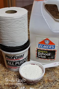Doodlecraft: Homemade Paper Mache Clay! 1 roll of 2ply toilet paper, 3/4 c elmers glue, 1 cup joint compound, 3/4C flour