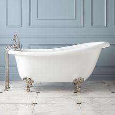 "68"" Sophia Acrylic Slipper Tub - Oil Rubbed Bronze Feet - No Overflow or Tap Holes"