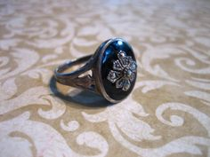 Vintage Sterling Silver Onyx and Marcasite Ring by charmingellie, $38.00