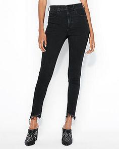 Super High Waisted Black Denim Perfect Ankle Jean Leggings